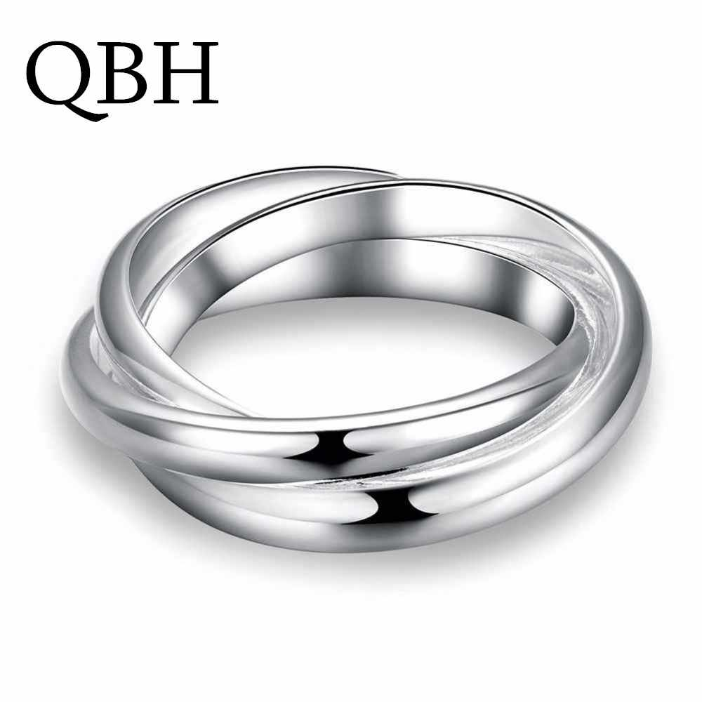 G001 Punk Men Bijoux Fashion Three Circles Cross Finger Rings For Women Simple Smooth Anillo Wedding Jewelry Party Lover Gift