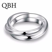 G001 Punk Men Bijoux Fashion Three Circles Cross Finger Rings For Women Simple Smooth Anillo Wedding Jewelry Party Lover Gift(China)