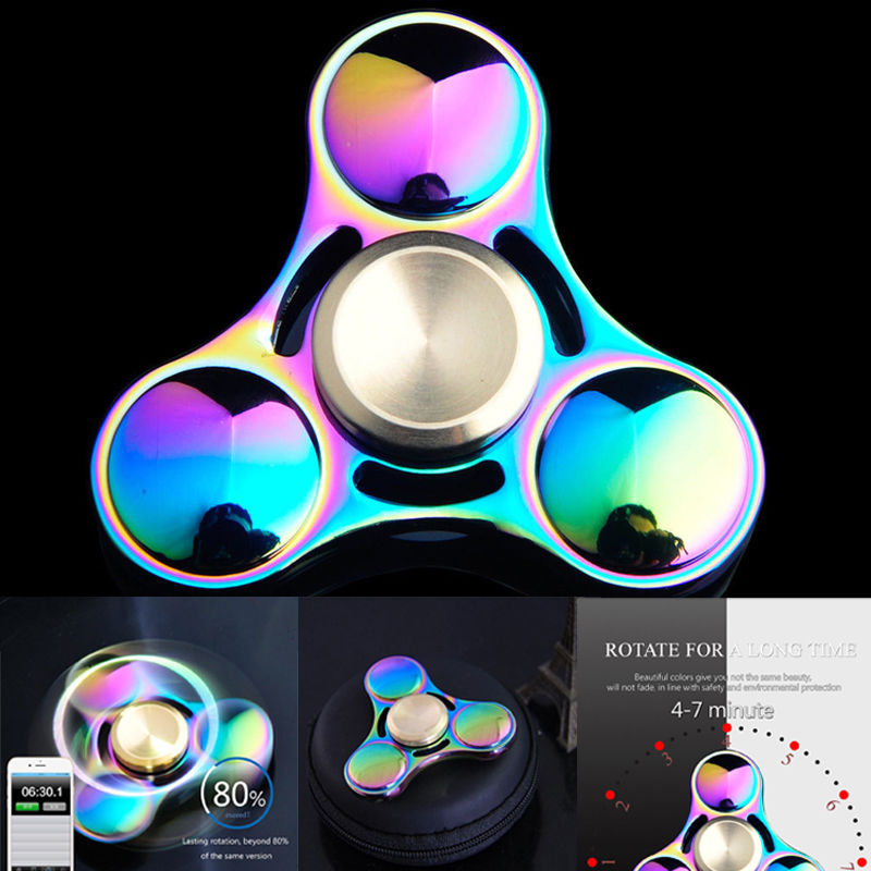New Colorful Rainbow Metal Fidget Toy Hand Spinner Rotation Time Long For Autism and ADHD Kids
