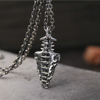 Antique Silver S925 Sterling Silver Fashion Stone Age Short Weapons Necklace & Pendant Men And Women Pendant