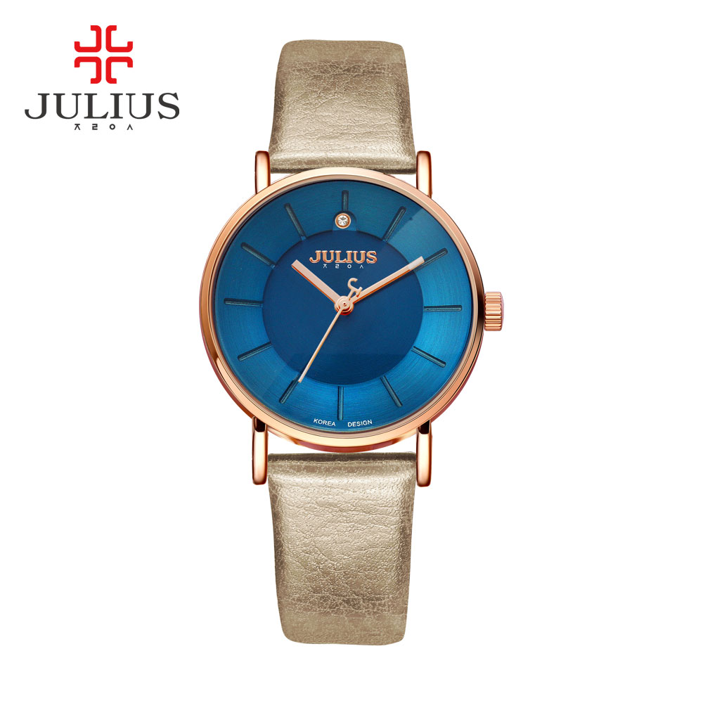 Promotion Julius Watches Fashion Business Women Leather Strap Japan Quartz Movt Original Designer Clock Relogio Relojes