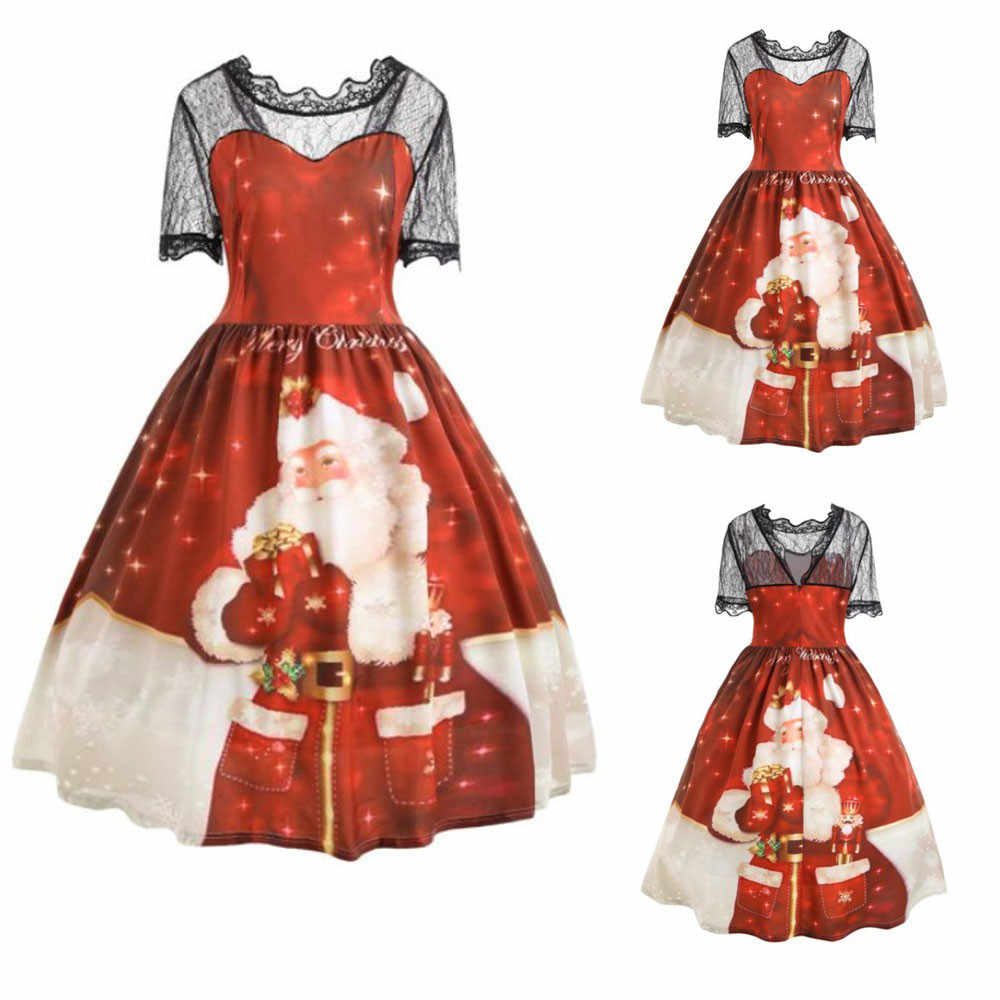 83ebd4da336 ... Winter Women Christmas Dress Plus Size Cute Print Lace Patchwork Santa  Claus High Waist Loose Dress