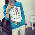 Autumn winter New women Cartoon Cute Doraemon print pattern casual Thickened comfortable cotton big size girl's blue Sweatshirt