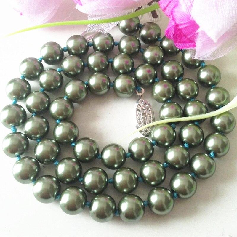 02e95661054be Hot venda nova moda 10mm verde shell simulado-pérola redonda beads corda  chains colares frete grátis jóias 18 polegadas MY4169