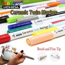 Marcadores de tinta permanente cerâmica marvy tinta de vidro porcelana de metal de madeira de plástico canvas marcador escova dicas finas design de caneca personalizado