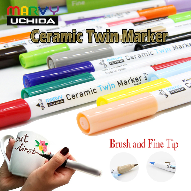 Marvy Ceramic Permanent Paint Markers Paint Glass Porcelain Metal Wood  Plastic Canvas Marker Brush Fine tips