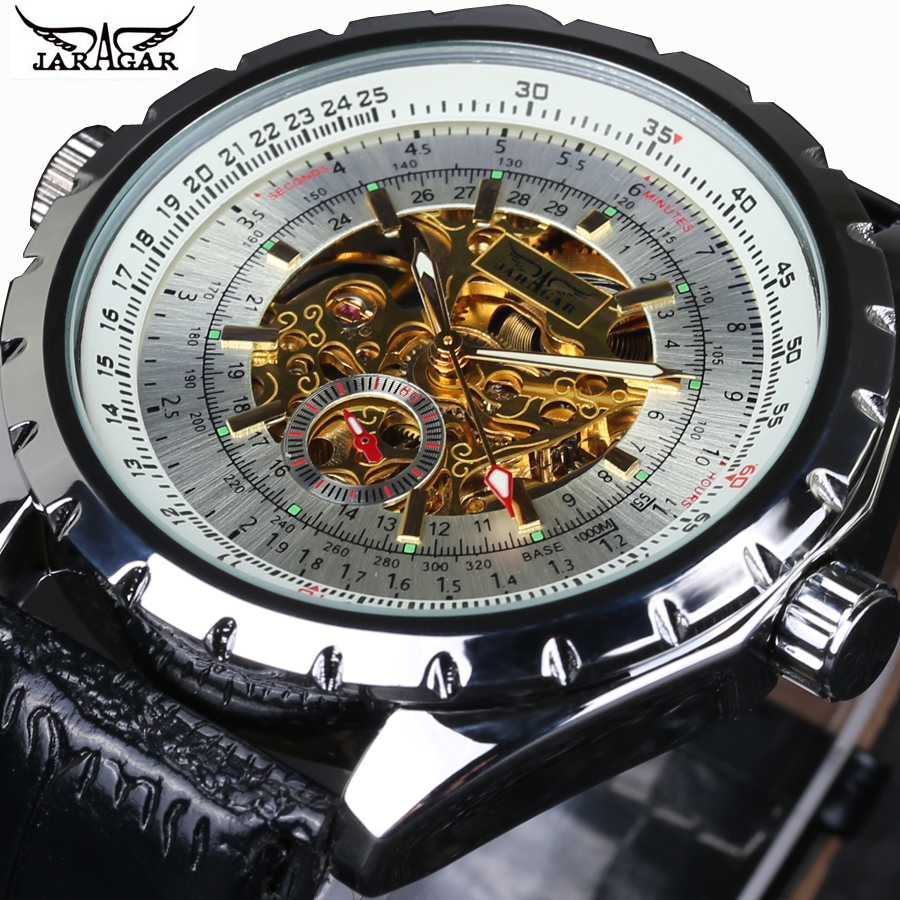 JARAGAR 2016 New Men s Skeleton WristWatch Stainless steel Antique Steampunk Casual Automatic Skeleton Mechanical Watches