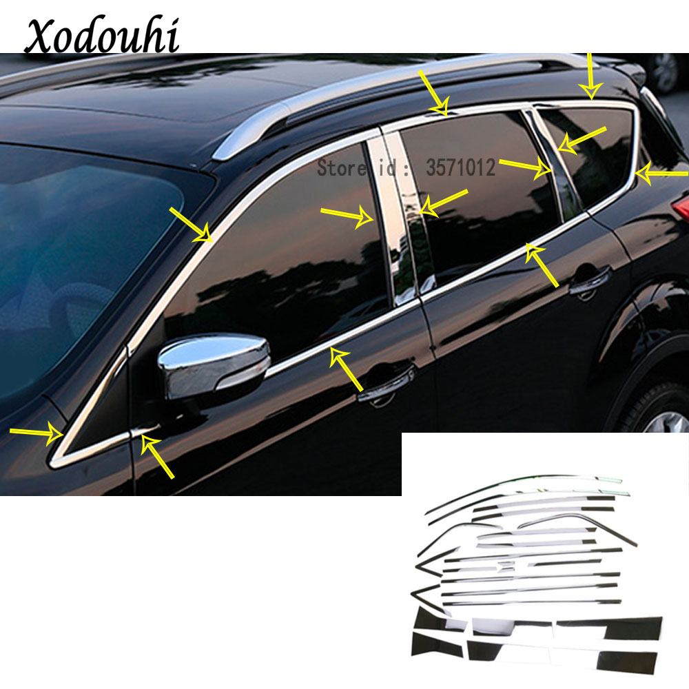 Hot for Ford Kuga 2013 2014 2015 2016 body cover stick stainless steel garnish pillar window middle strip trim frame moulding stainless steel full window with center pillar decoration trim car accessories for hyundai ix35 2013 2014 2015 24