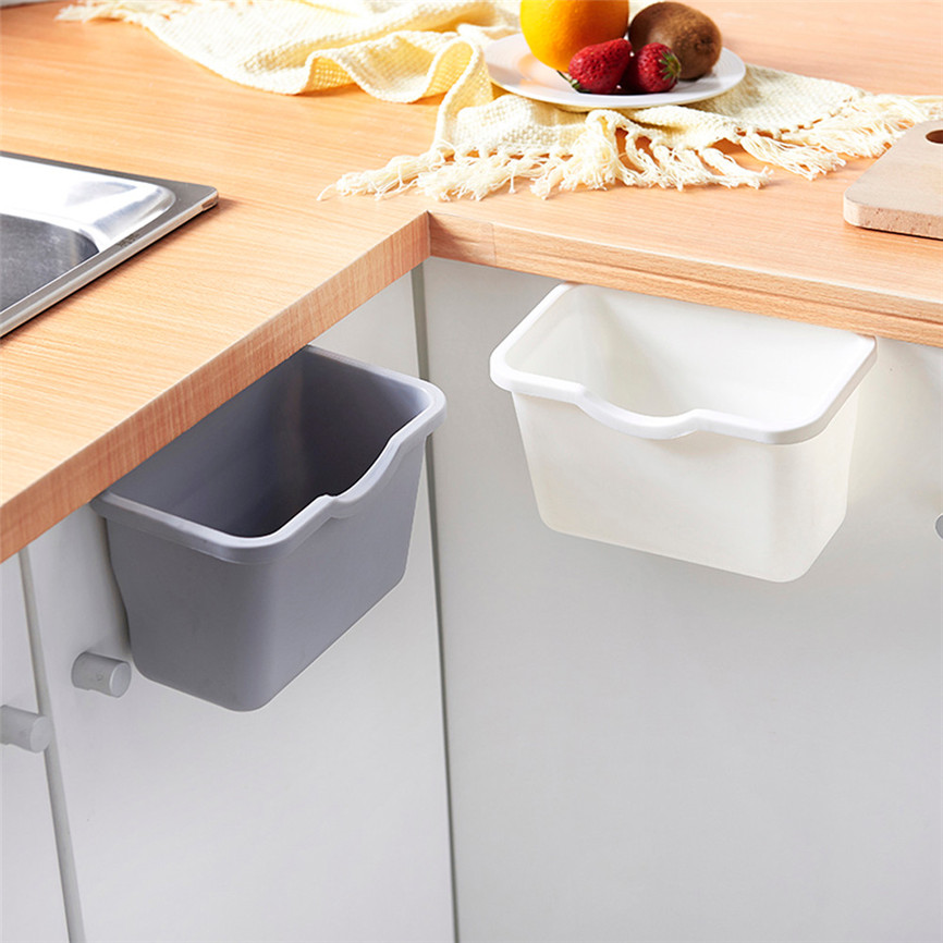 3 Colors PP Kitchen Cabinet Door Hanging Trash Garbage Can Bin Rubbish Container