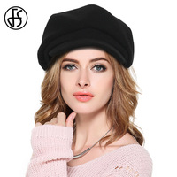 2017 Autumn Winter French Beret Hat For Women Wool Beret Hats With Bowknot Decoration Elegant Black