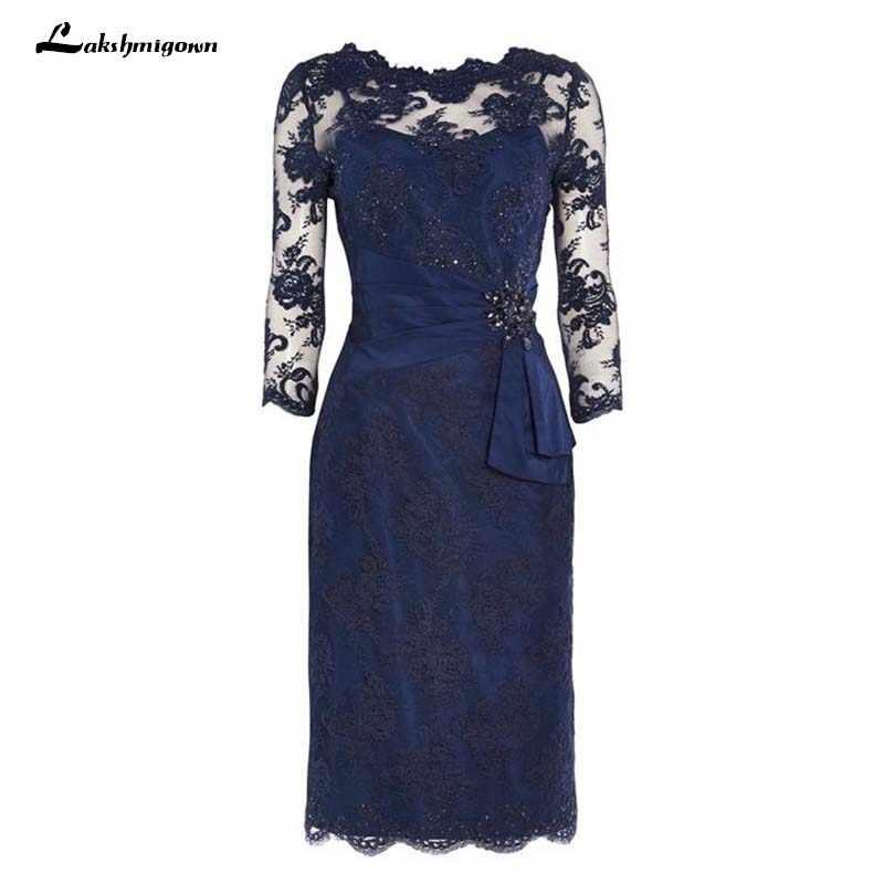 a6886a3cff0 Плюс размер мать невесты платья оболочка темно-синий Кружева колен Короткое  платье для мамы на