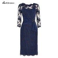 Плюс размер мать невесты платья оболочка темно синий Кружева колен Короткое платье для мамы на свадьбу