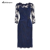 Plus Size Mother Of The Bride Dresses Sheath Navy blue lace Knee Length Short Mother Dress For Wedding