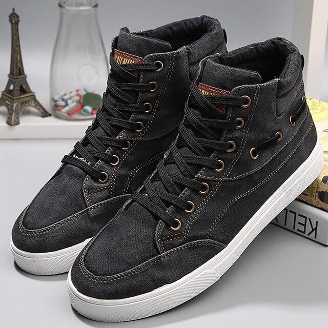 男性のデニム靴耐摩耗性ファッション高トップスニーカーカジュアルシューズメンズレースアップ 2019 ホットブランド靴黒