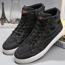 Mens denim footwear wear resistant fashion high top sneakers casual shoes men lace up 2019 hot brand shoes black
