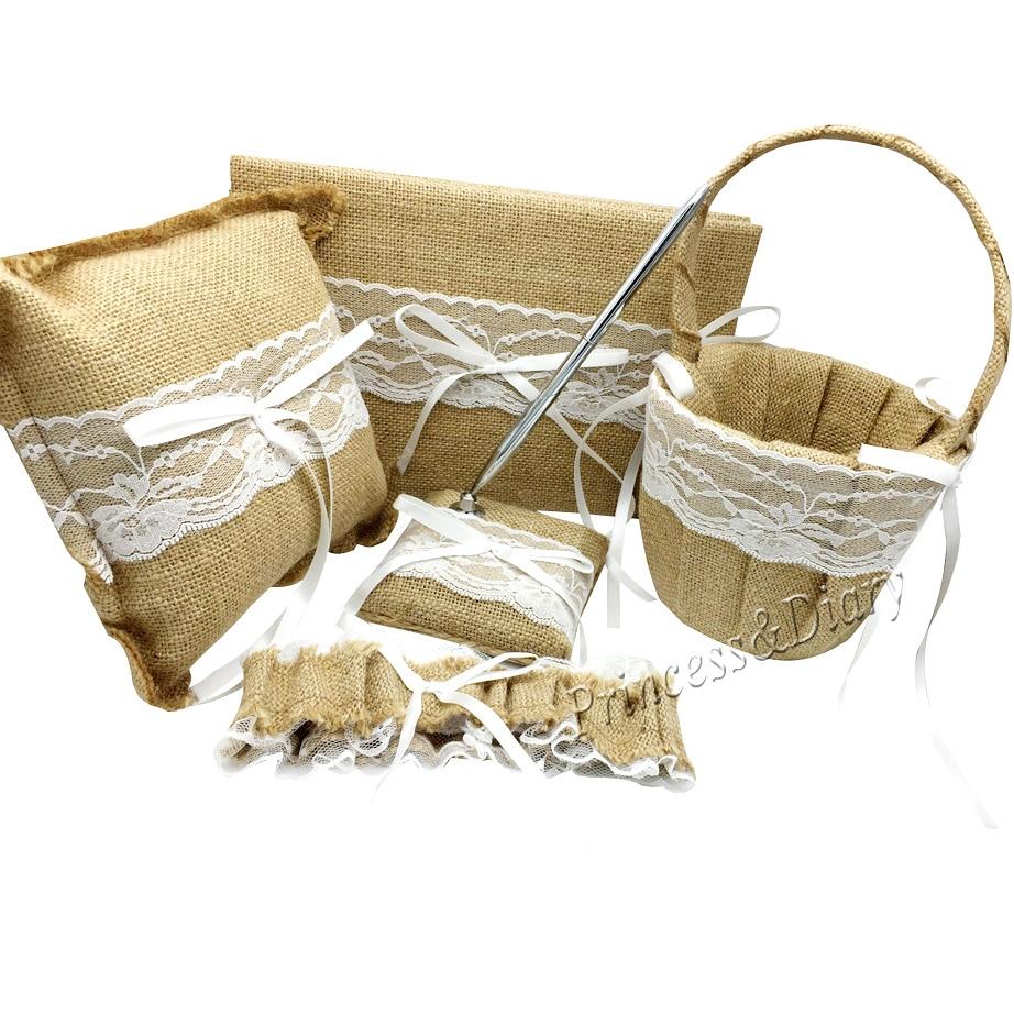 5ks / sada Pytlovina Hessian Lace Svatební Svatební Kniha & Pen Set & Prsten Polštář & Květina Koš & Podvazek Dekorace Svatební Produkt Dodávky  t