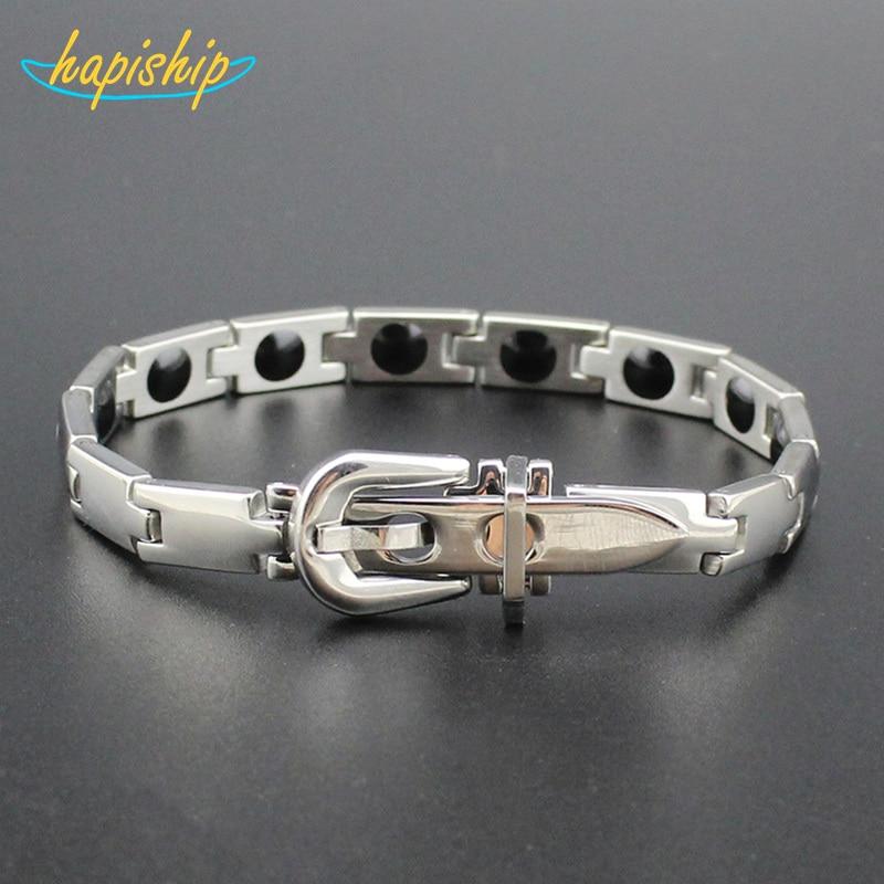 Hapiship Men/Women Germanium Energy Titanium Stainless Therapy Bracelet Birthday Gift S005