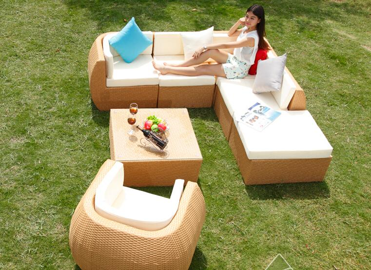 aliexpresscom buy rattan outdoor sofa set 6 seat garden furniture with table chiar rattan sofa set wicker patio outdoor furniture set hfa011 from