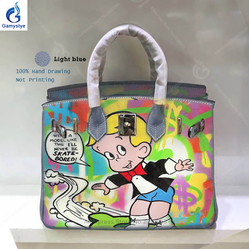 Gamystye Real Cow Leather Ladies Hand Bags Women Togo Leather Casual Totes Bags Art Oil Graffiti Alec Monopoly Messenger Bag Y art hand printed bags for women 2018 100% genuine leather top handle bags high capacity vintage casual totes togo leather bag y
