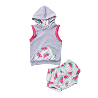 0-4Y Watermelon Baby Kids Girls Boys Clothes Sets Hooded Sleeveless Cotton Pocket Vest+Short Pants Outfit Set