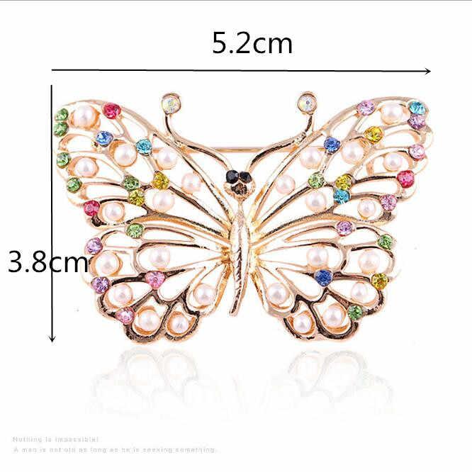 Utei Gioielli Vendita Al Dettaglio!! di Colore dell'oro Della Lega Multicolor Cristalli Fancy Pearl Beads Adorabile Farfalla Spilla Moda Donna Collare Pin
