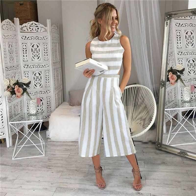 Womens Sleeveless Striped Jumpsuit Rompers Casual Office Long Wide Leg Pants Outfits Overalls Hollow Out Waist One Piece Clothes