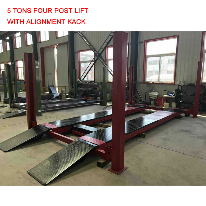 5 Tons Four Post Car Lift With Function Alignment Second Hydraulic Jack Total Length 5500mm