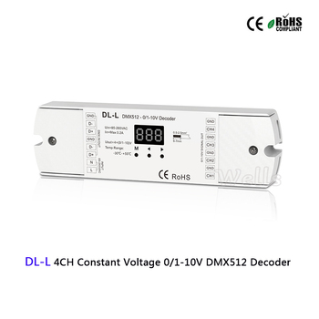 DL-L 4CH CV 0/1-10V DMX512 Decoder;DMX512 to 0/1-10V signal decoder with digital display DMX512 led controller l7810 l7810cv to 220 10v 1 5a