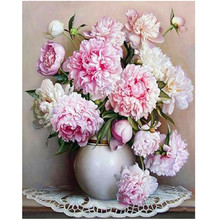 WONZOM Flowers Paint By Numbers Pink Rose Home Decor Oil Painting On Canvas With Framed Wall Art For Living Room Acrylic