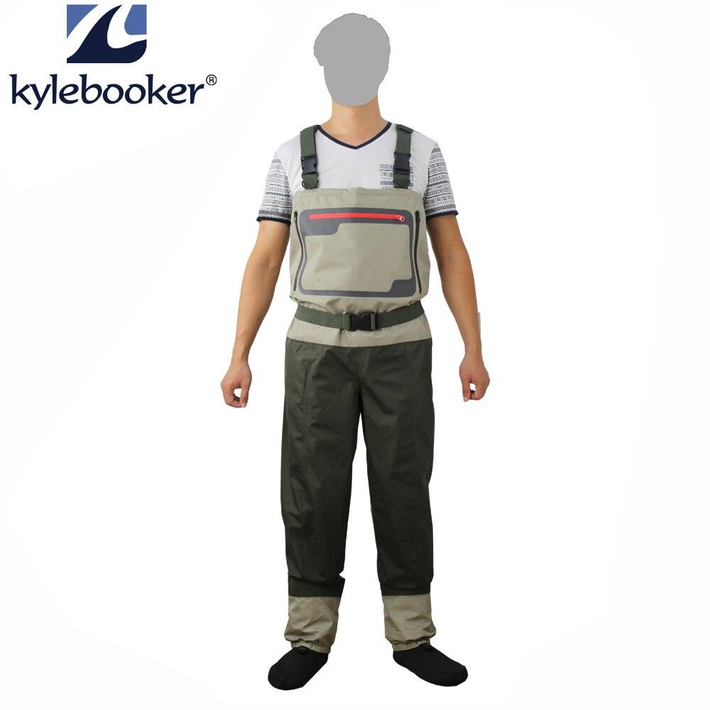 Novo estilo de pesca com mosca wader meia pé peito waders respirável calças à prova dwaterproof água pesca wader