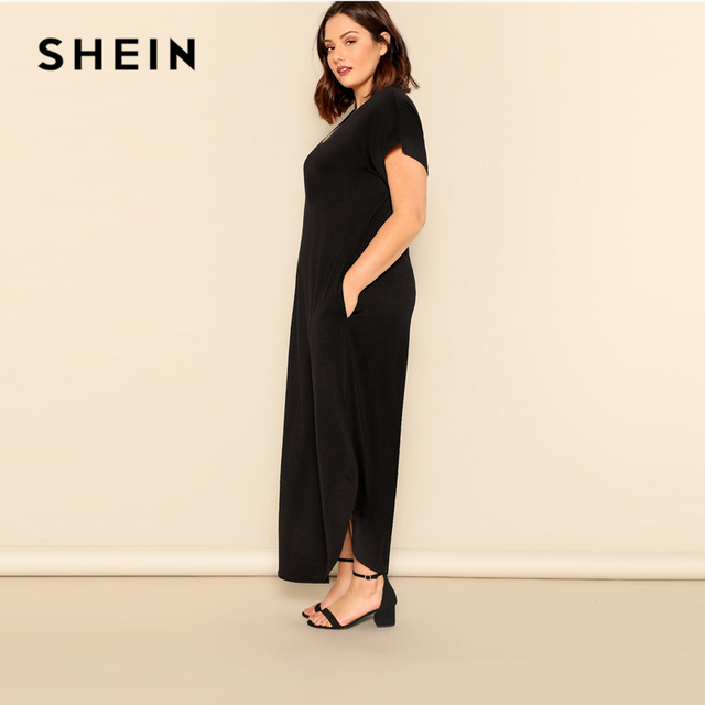 SHEIN Plus Size Black Slant Pocket M-Slit Hem Maxi Dress 2019 Women Summer Casual Pocket V neck Short Sleeve Solid Long Dreeses 1