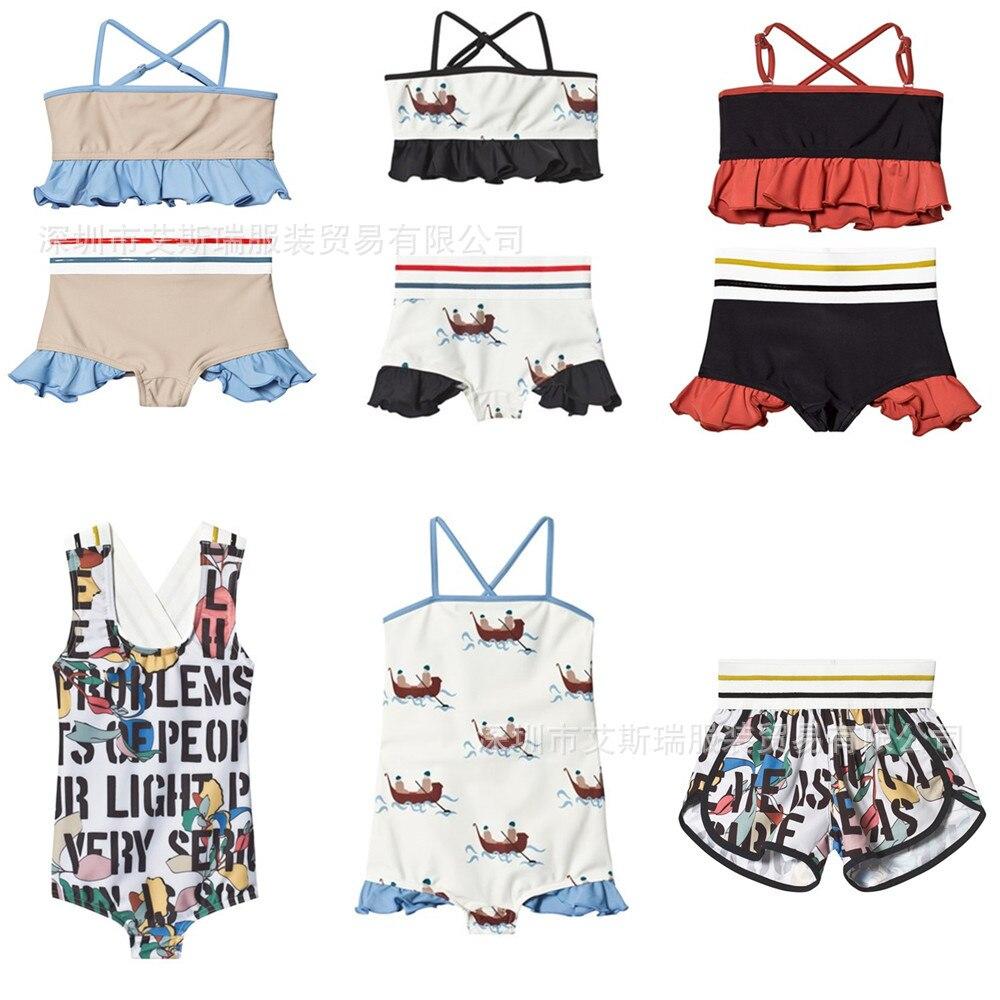 f7ed7e158a Boy Girl Swimwear2019 Summer New Ins Hot Boys and Girls Baby Wolf Same  Series Split Swimsuit