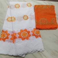 (5+2yards/set) newest Africa cotton lace fabric white and orange Swiss voile lace fabric with embroidery for party dress CLS241