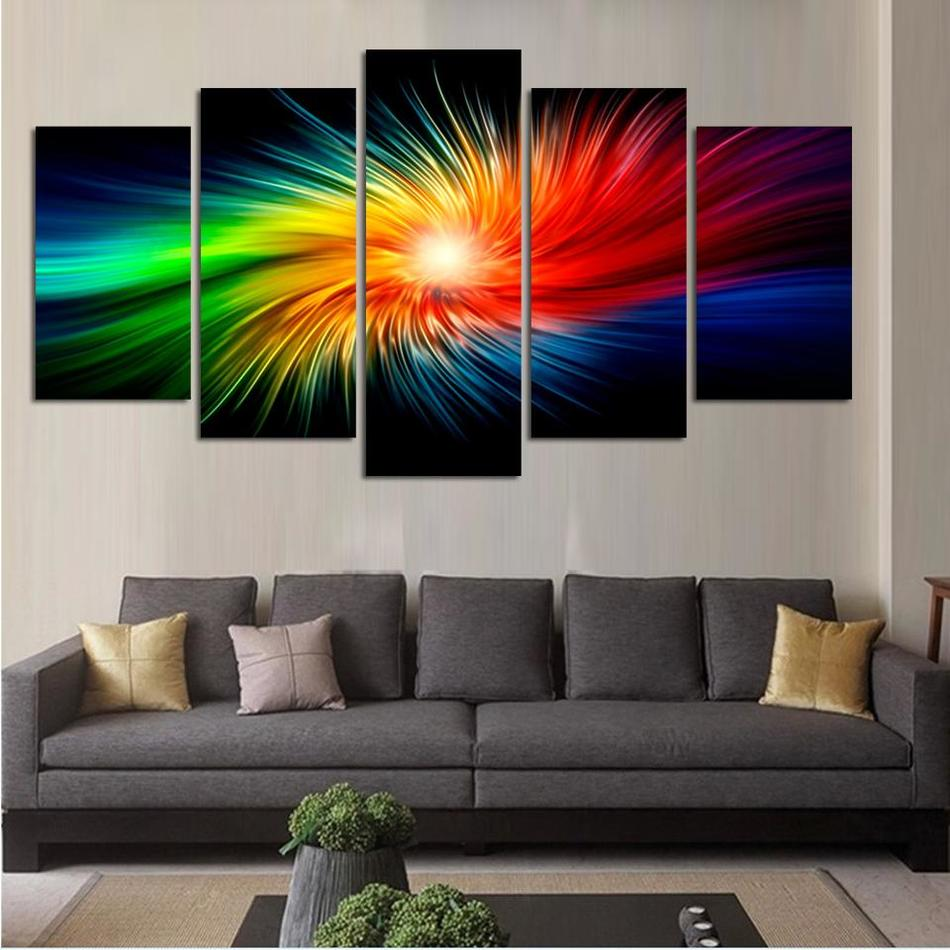 Online coloring room - Color Painting Canvas Modern 3d 5 Piece Abstract Wall Art Oil Picture Home Decoration For Living Room