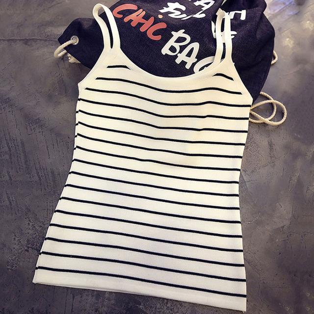 Verão mulheres regatas novo 2016 moda listrada camisola tamanho livre de malha de algodão Feminino topos Sexy sólidos Camis New Arrivals