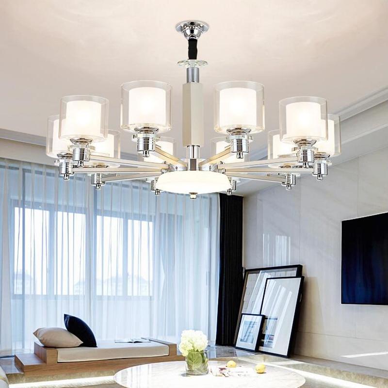 Modern Chrome Metal Led Chandeliers Lighting Living Room Glass Led Pendant Chandelier Light Hanging Lamp Fixture For Dining Room