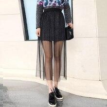 Falda blanca de malla para mujer, falda informal Vintage Sexy de cintura alta, transparente con encaje calado, negra, 141