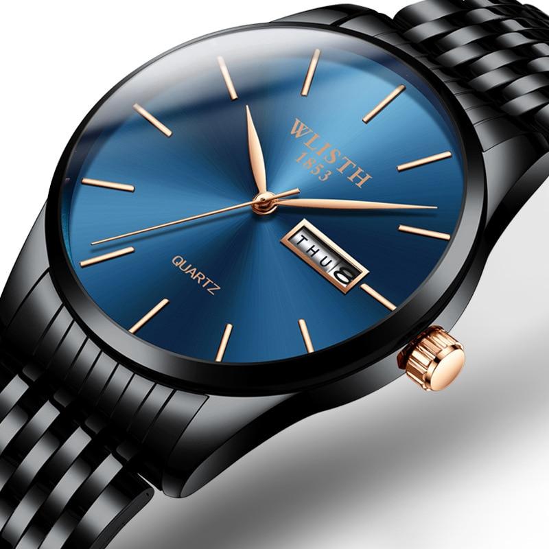 Men's Watches Top Brand Luxury Ultra-thin Male Clock Steel Display Week Date Fashion Quartz-Watch Business Men Wrist Watches
