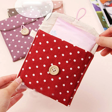 Random Color Women's Portable Polka Dot Storage Pouch Sanitary Napkin Holder Organizer Bag