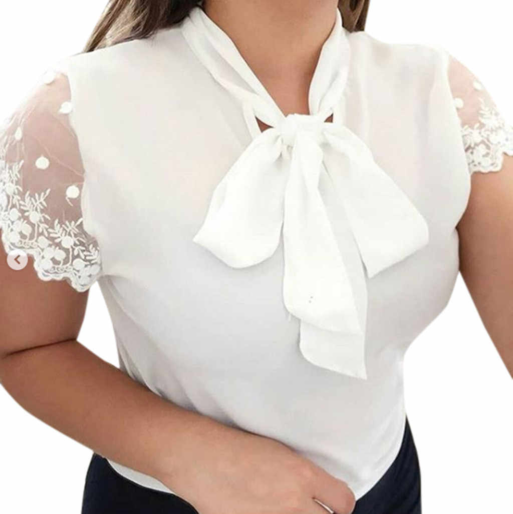 CHAMSGEND Lace Blouses Women 2019 Summer Work Office Top Solid Bow Tie O-Neck Short Sleeve Chiffon Shirt Blouse Slim Top  Mar7