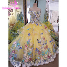Real Photo 2017 Yellow High Quality Elegant Luxury Lace Wedding Dress Vestido Vintage Bandage Plus Size Ball Gown Bridal Gowns(China (Mainland))