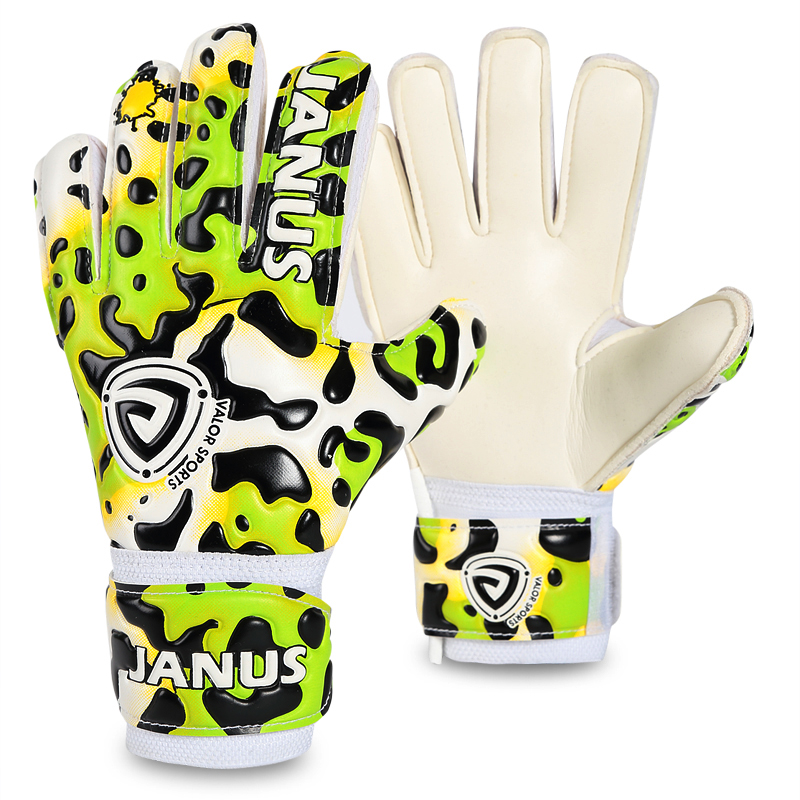 JANUS Professional Children Goalkeeper Gloves With Finger Protection Thickened Latex Leopard Print Soccer Goalie Gloves Football kid s soccer goalkeeper gloves guantes de portero for children 5 16 years old soft goalkeeper gloves children riding scooters sp