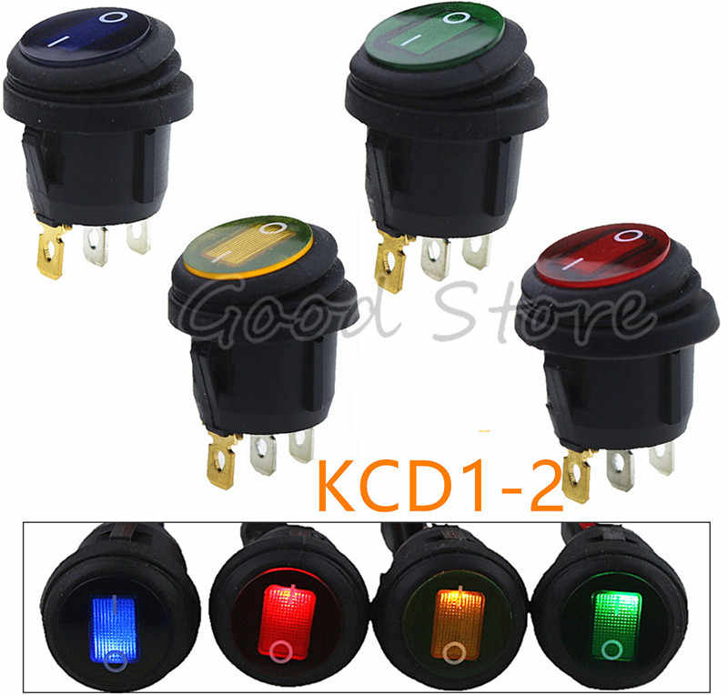 1pcs On-Off KCD1-2 3Pin 12V 220V Green Red Blue Yellow Round Boat Car Rocker Waterproof Switch Light