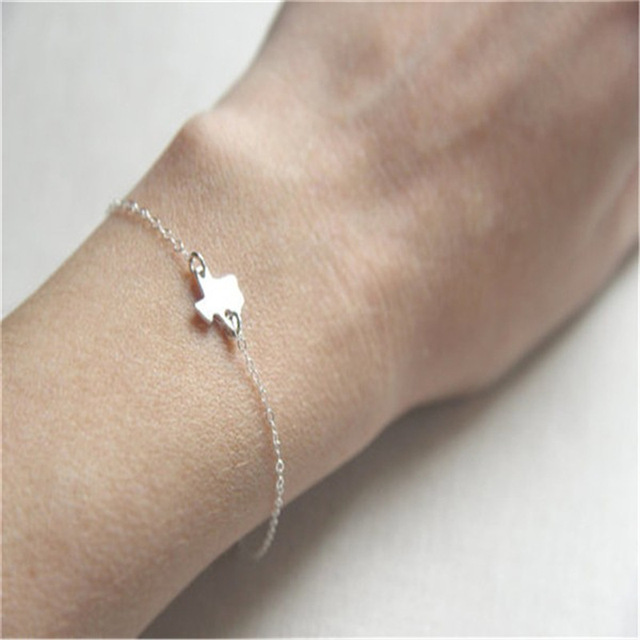 US $3 76 |Daisies One Piece Tiny Texas State Bracelet Texas Bracelet In  Gold/silver Personalized Map Bracelet Map Jewelry for Girlfriend-in Chain &