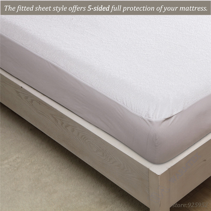 king size 180x200 Premium Terry Protector skirt style Terry Cloth Mattress Cover 100% Waterproof of TPU thick terry cloth W007 A