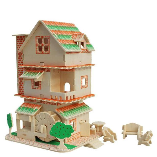 Educational 3D Wood Puzzles For Adults Kids Terrazzo Floor Children Gift Baby Kid's Toys 3D DIY Wooden Building Model