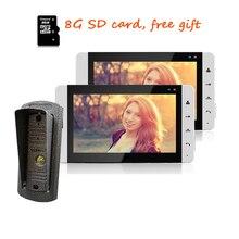 """Nueva Conexión de Cable 7 """"LCD a Color de Cámara de Grabación de Vídeo Timbre de La Puerta de Intercomunicación Teléfono + Waterproof + 2 Monitor Táctil + 8G TF Gratis gratis"""