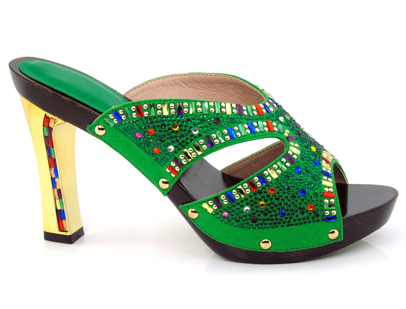 ФОТО green,guaranteed quality African sandals for party,beautiful ladies shoes with rhinestones!!!HYY1-5
