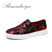 BIMUDUIYU Best Sellers Spring Autumn Fashion 3D Cloth Printed Casual Shoes Big Size Breathable Flat Heel