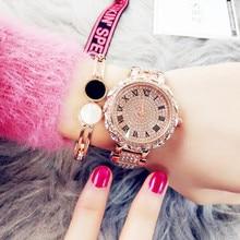 цена на Fashion Luxury New Authentic Ladies Quartz Waterproof Watch Large Dial Full Rhinestone Steel Belt Tide Meter